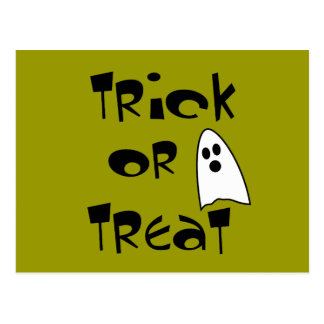Trick Or Treat with Cute Ghost Post Cards