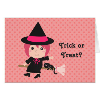 Trick or Treat with Happy Girl Witch for Halloween Greeting Card