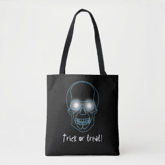 """Trick or treat"" with neon skull Tote Bag"