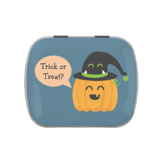 Trick or Treat with Pumpkin and hat for Halloween Jelly Belly Candy Tin