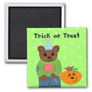 Trick or Treater Bear Square Magnet