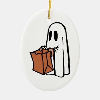 Trick or Treater Dressed as Ghost with Paper Bag Christmas Tree Ornaments