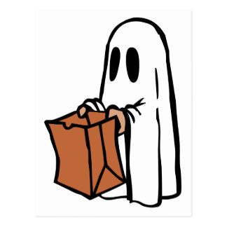 Trick or Treater Dressed as Ghost with Paper Bag Post Cards