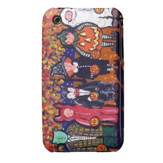 Trick or Treaters Halloween Folk Art iPhone Case iPhone 3 Case-Mate Cases