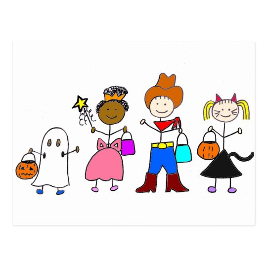 Trick or Treaters Halloween Postcard