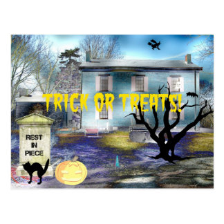 Trick or Treats Haunted House Postcard