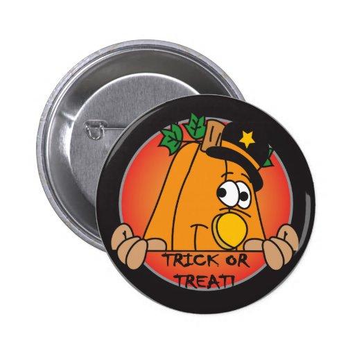 Trick or Trick Pumpkin Peeker Pinback Button
