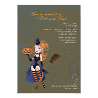 Tricks and Treats Naughty Witch Invitation