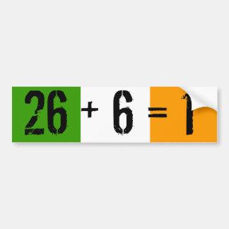 Tricolor, 26 + 6 = 1 bumper sticker