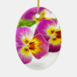 Tricolor | anniversary | flower | Pansy | cute | B Ceramic Oval Decoration