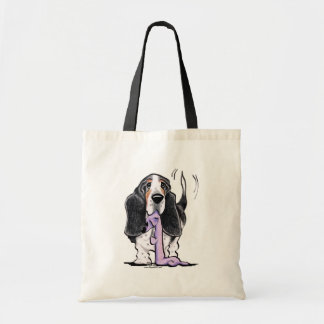 Tricolor Basset Hound Lets Play Tote Bag