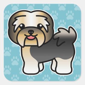 Tricolor Cartoon Havanese Dog Square Sticker