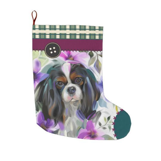 Tricolor Cavalier Christmas Stocking   chequered