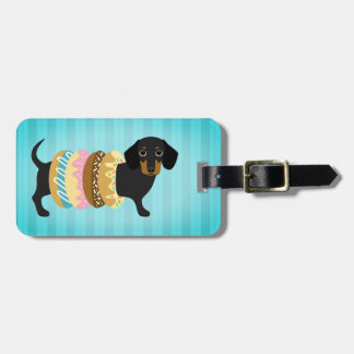 Tricolor Dachshund with Donut Rings Luggage Tag