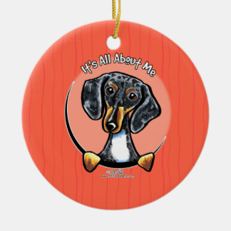 Tricolor Dapple Dachshund IAAM Christmas Ornament