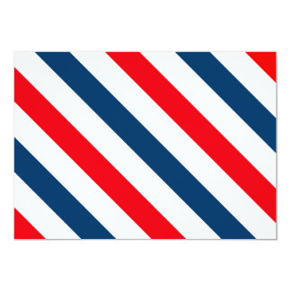 Tricolor Diagonal Stripes(blue, white, and red) 13 Cm X 18 Cm Invitation Card