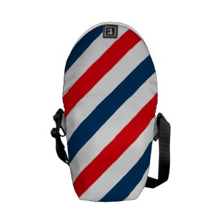 Tricolor Diagonal Stripes(blue, white, and red) Commuter Bags