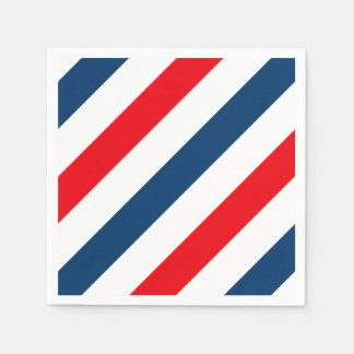 Tricolor Diagonal Stripes(blue, white, and red) Disposable Napkins