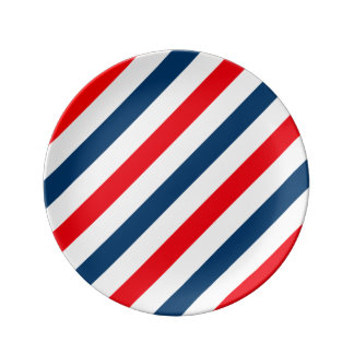 Tricolor Diagonal Stripes(blue, white, and red) Porcelain Plate