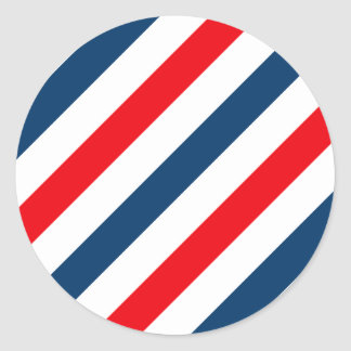 Tricolor Diagonal Stripes(blue, white, and red) Round Sticker