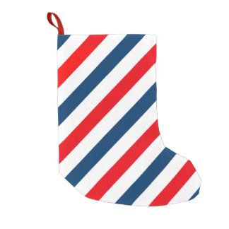Tricolor Diagonal Stripes(blue, white, and red) Small Christmas Stocking