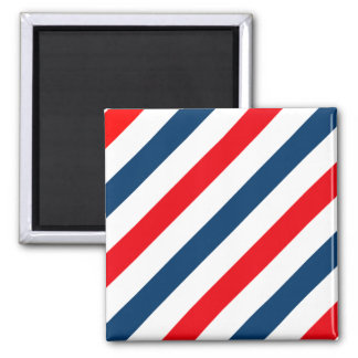Tricolor Diagonal Stripes(blue, white, and red) Square Magnet