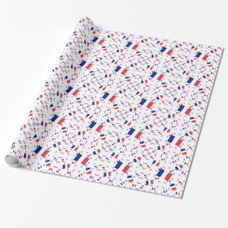 Tricolor France Flag in Multiple Layers Askew Wrapping Paper