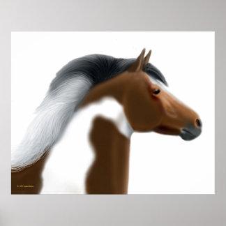 Tricolor Paint Horse Portrait Print
