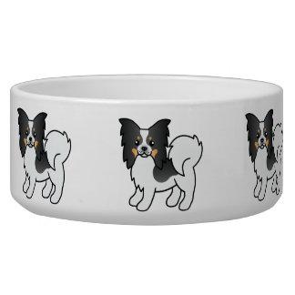 Tricolor Papillon Breed Cartoon Dog Dog Bowls