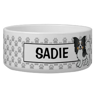Tricolor Papillon Breed Cartoon Dog Dog Food Bowl