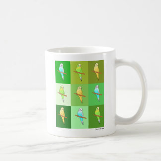 Tricolor Parakeets with Green Design Coffee Mug