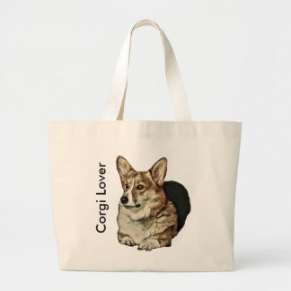 Tricolor Welsh Corgi Sitting Large Tote Bag
