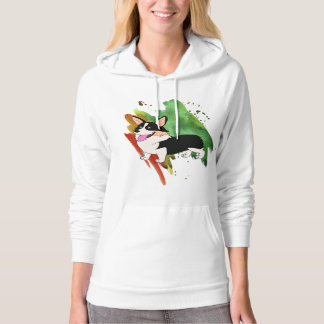 Tricolor Welsh Corgi with a Splash Hoodie