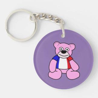 Tricolour Flag Teddy Bear Double-Sided Round Acrylic Key Ring