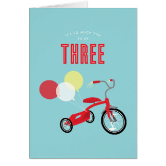 Tricylce Third Birthday Card
