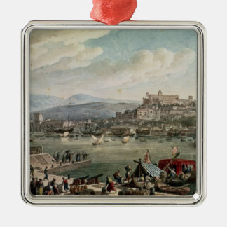 Trieste Harbour, 1802 Silver-Colored Square Decoration