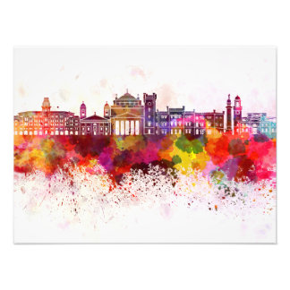 Trieste skyline in watercolor background photo print