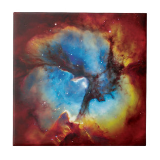 Trifid Nebula Colorful Hubble Outer Space Photo Small Square Tile