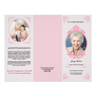Trifold Funeral Program Template Flyer
