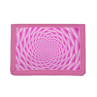 TriFold Nylon Wallet  Pink Spiral Weave