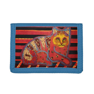 Trifold Nylon Wallet with Cool Cat