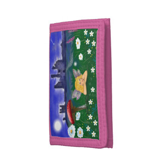 Trifold wallet cute fairy flowers castle