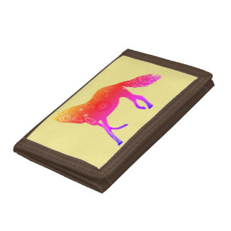 TriFold Wallet Horses Brown Pink