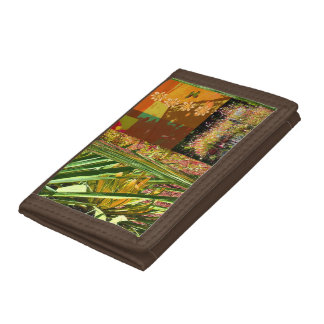TriFold Wallet Horses Brown red orange green tan