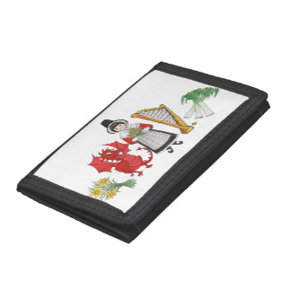 Trifold Wallet: Welsh Daffodils Dragon Leeks Harp Trifold Wallet