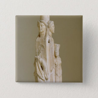 Triform Herm of Hecate, Marble sculpture, Attic pe 15 Cm Square Badge