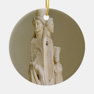 Triform Herm of Hecate, Marble sculpture, Attic pe Christmas Ornament
