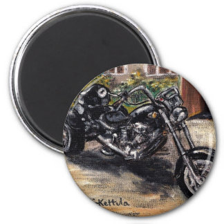 Trike motorcycle 6 cm round magnet