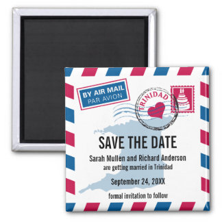 Trinidad Air Mail Wedding Save the Date Magnet