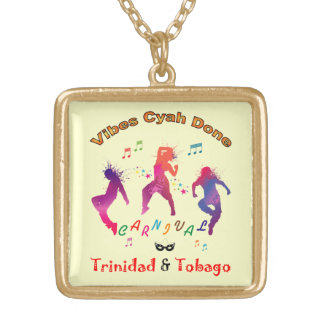 Trinidad and Tobago Carnival Bacchanal Square Pendant Necklace